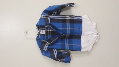 Body Infantil Camisa Xadrez Manga Longa