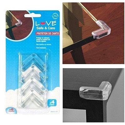 4 Protetores Mesa Vidro Proteção Quina Canto Bebê Segurança - Love 8811