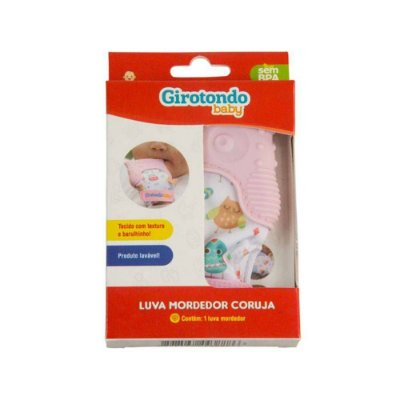 Luva Mordedor Coruja Rosa +3 Meses Girotondo Baby