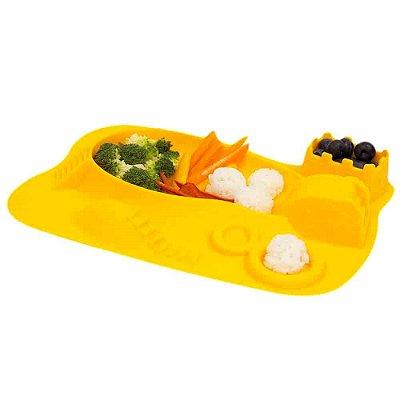 Prato de Silicone Divertido Infantil Amarelo - Marcus & Marcus