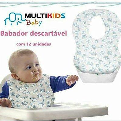 Babador Descartável Pocket Bibs 12 Peças - Multikids