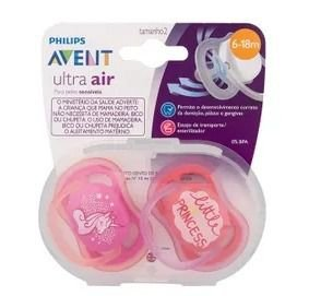Kit C/2 Chupetas Ultra Air Rosa 6-18m Avent