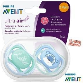 Kit C/2 Chupetas Ultra Air Azul 6-18m Avent