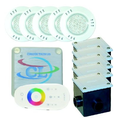 Kit LED RGB e Controle Touch Piscinas Grandes 60m²