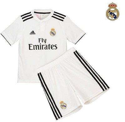 97f5c1dfe1 Conjunto Infantil (Camisa + Shorts) Real Madrid 2018-19 (Home-Uniforme