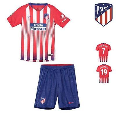 Conjunto Infantil (Camisa + Shorts) Atlético de Madrid 2018-19 (Home- 00860ec821924