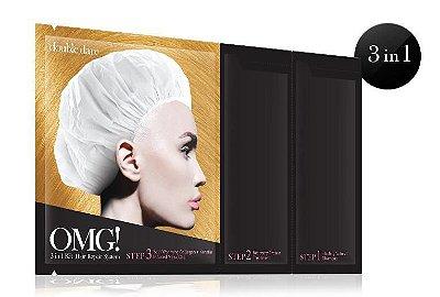 Double Dare OMG! Kit 3 em 1: Shampoo Reparação Natural OMG, Máscara de Tratamento Proteína de Recuperação OMG, Touca Máscara de Auto aquecimento de Colágeno + Infusão de Queratina OMG