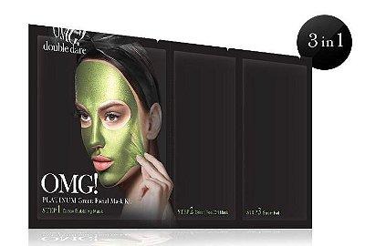 Double Dare OMG! Kit Máscara Facial Platinum Verde: Máscara Borbulhante Detox OMG, Máscara Verde Peel Off OMG, Pad Sérum Removedor OMG