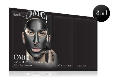 Double Dare OMG! Kit Máscara Facial de cuidado Masculino Man in Black: Máscara Borbulhante Detox OMG, Máscara Preta Peel Off OMG, Pad Sérum Removedor OMG