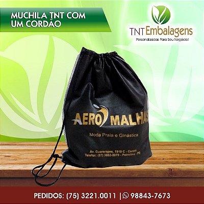 MOCHILA DE TNT (G. 0,45) COM CORDÃO SIMPLES - PERSONALIZADA PARA BRINDE - TNT EMBALAGENS