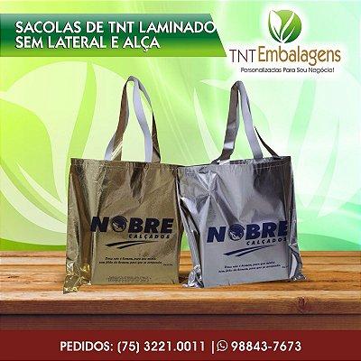 SACOLAS DE TNT LAMINADO PERSONALIZADA COM ALÇA DE TNT - (SEM LATERAL) - TNT EMBALAGENS