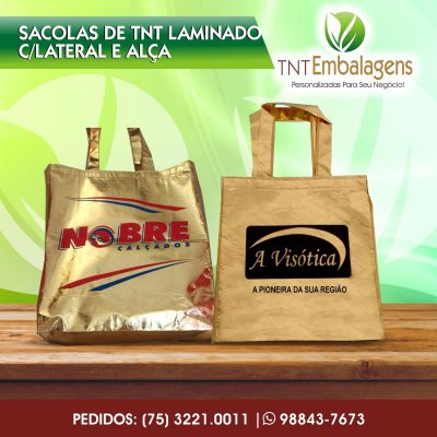 SACOLAS DE TNT LAMINADO PERSONALIZADA COM ALÇA DE TNT - (COM LATERAL) - TNT EMBALAGENS