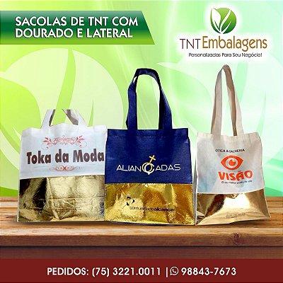 SACOLAS DE TNT COM TNT LAMINADO PERSONALIZADA COM ALÇA DE TNT - (COM LATERAL) - TNT EMBALAGENS