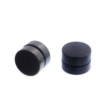 Brinco Masculino Magnético / Imã / 8mm - Alargador Falso - Preto - PAR