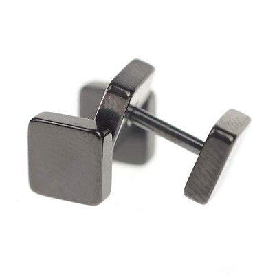 Brinco Masculino Quadrado - Preto/Prata - Aço Inoxidável  - PAR