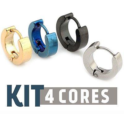 Kit de Argola Aço inoxidável -  4 cores
