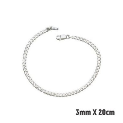 Pulseira de Prata Masculina Ajustável - Prata 925 3mmX20cm