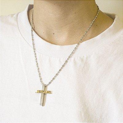 Colar Masculino Crucifixo Jesus