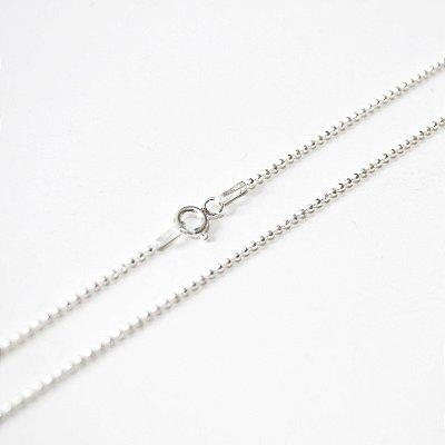 Corrente de Prata Masculina Diamantada Bola - 45cm - Prata 925