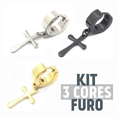 Kit Brinco Cruz Pingente 3 Cores (1 peças de cada cor) Furo