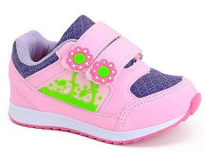 Tênis Infantil Feminino Botinho Florzinha Azul Rosa Roxo Kids Escolar Dia a Dia 797