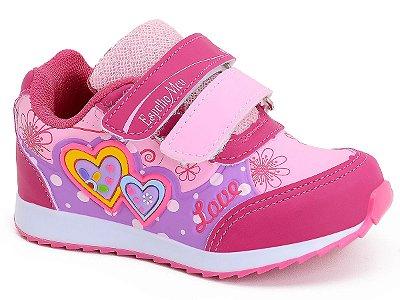 Tênis Infantil Feminino Kids Velcro Rosa Coração Botinho Espelho Meu 796