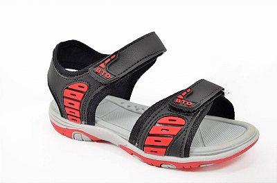Sandalia Infantil Masculina Papete Vermelho Preto Velcro Confort Botinho 259ba