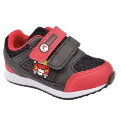Tênis Infantil Carrinho Vermelho Preto Botinho Antiderrapante Bebê Infantil 798ca