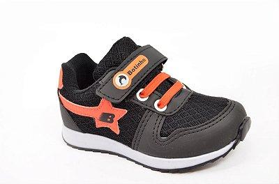 Tênis Infantil Bebê Preto Laranja Unissex Sintetico Botinho Velcro 710BA