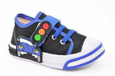 Tênis Infantil Carrinho Azul Preto Botinho Velcro Elastico Tecido Dia das Crianças 846ca