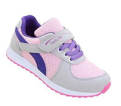 Tênis Feminino Infantil Cinza Rosa Velcro Juvenil Espelho Meu Botinho Colegial 661OA