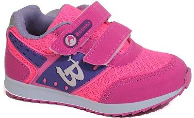 Tênis Esportivo Infantil Rosa Fechamento em Velcro Sola AntiDerrapante Marca Botinho
