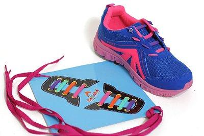 Tênis Elástico Customizável Azul/Pink Sola em TR Fechamento Elástico Cabedal Sintético Marca Botinho
