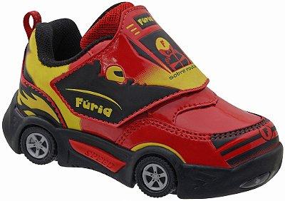 Tênis de Carrinho com Luzinha Traseira e Frontal Vermelho Sola TR Fechamento Velcro Marca Botinho