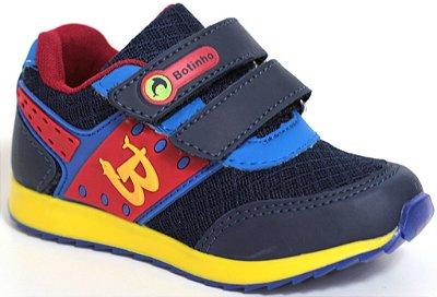 Tênis Infantil Esportivo Marinho/Vermelho Fechamento em Velcro Sola TR Antiderrapante Marca Botinho
