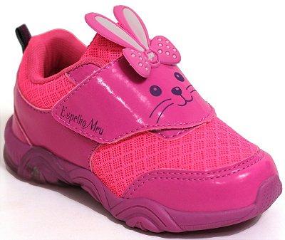 Tênis Feminino Coelhinho com Luzinha Pink Traseira Troca o Velcro Personalizável Marca Botinho