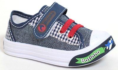 Sapatinho Infantil Jeans Aviãozinho Fechamento em Elástico e Velcro Sola TR Marca Botinho