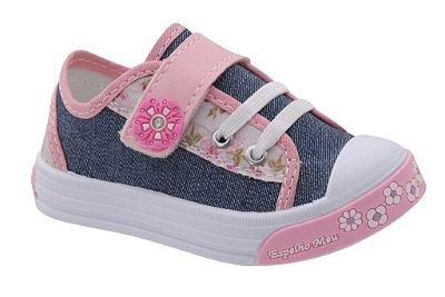 Sapatinho Infantil Jeans/Rosa Feminino Florzinha Fechamento em Velcro e Elastico Marca Espelho Meu