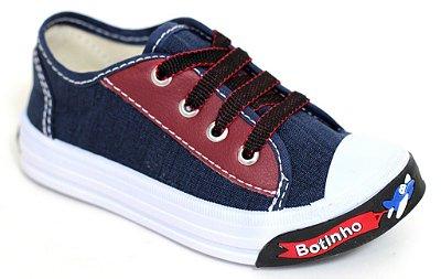 Tênis Infantil Jeans/Vermelho Masculino Kids Botinho 829EA