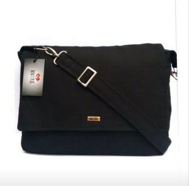 Bolsa carteiro preta de tecido