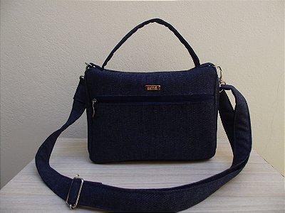 Capa de bíblia em jeans com alça regulável zíper e bolso