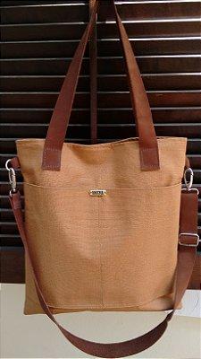 Bolsa feminina de lona com alças de couro