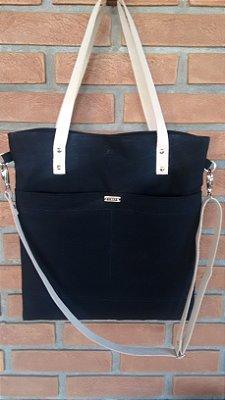 Bolsa tiracolo de lona com alça de couro
