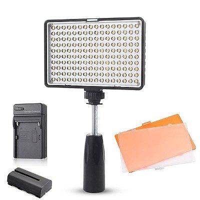 Led Video Light TL-180S + Bateria + Carregador + Suporte de Mão