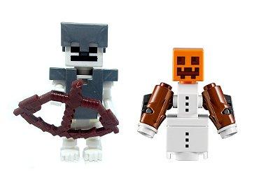 Set Minecraft - Golem de Neve e Esqueleto Armadura de Ferro