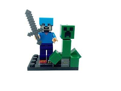 Set Minecraft - Creeper e Steve Capacete de Diamante #83