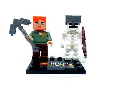 Set Minecraft  - Alex e Esqueleto com Capacete de Ferro #83