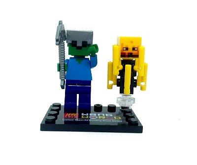 Set Minecraft - Blaze e Zumbi com Capacete e Picareta de Ferro #85