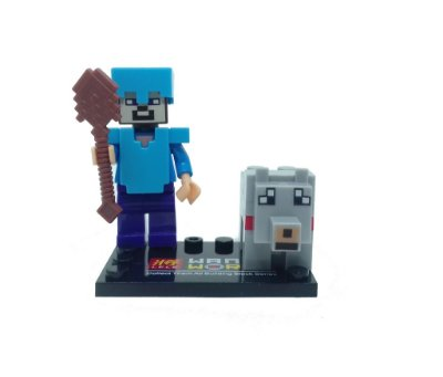 Set Minecraft - Cachorro e Steve com Peitoral de Diamante #86