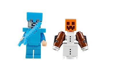 Set Minecraft - Steve Com Armadura e Espada de Diamante e Golem de Neve #87